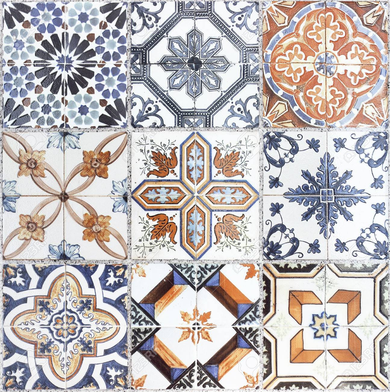 Beautiful Old Wall Ceramic Tiles Patterns Stock Photo, Picture And ...