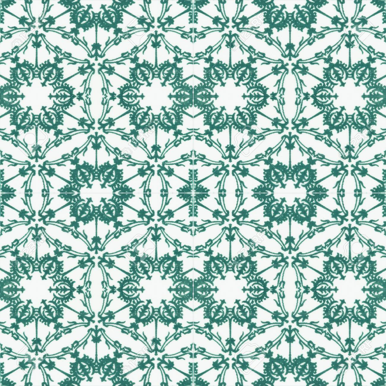 Old Ceramic Tiles Patterns In The Park Public. Stock Photo, Picture ...