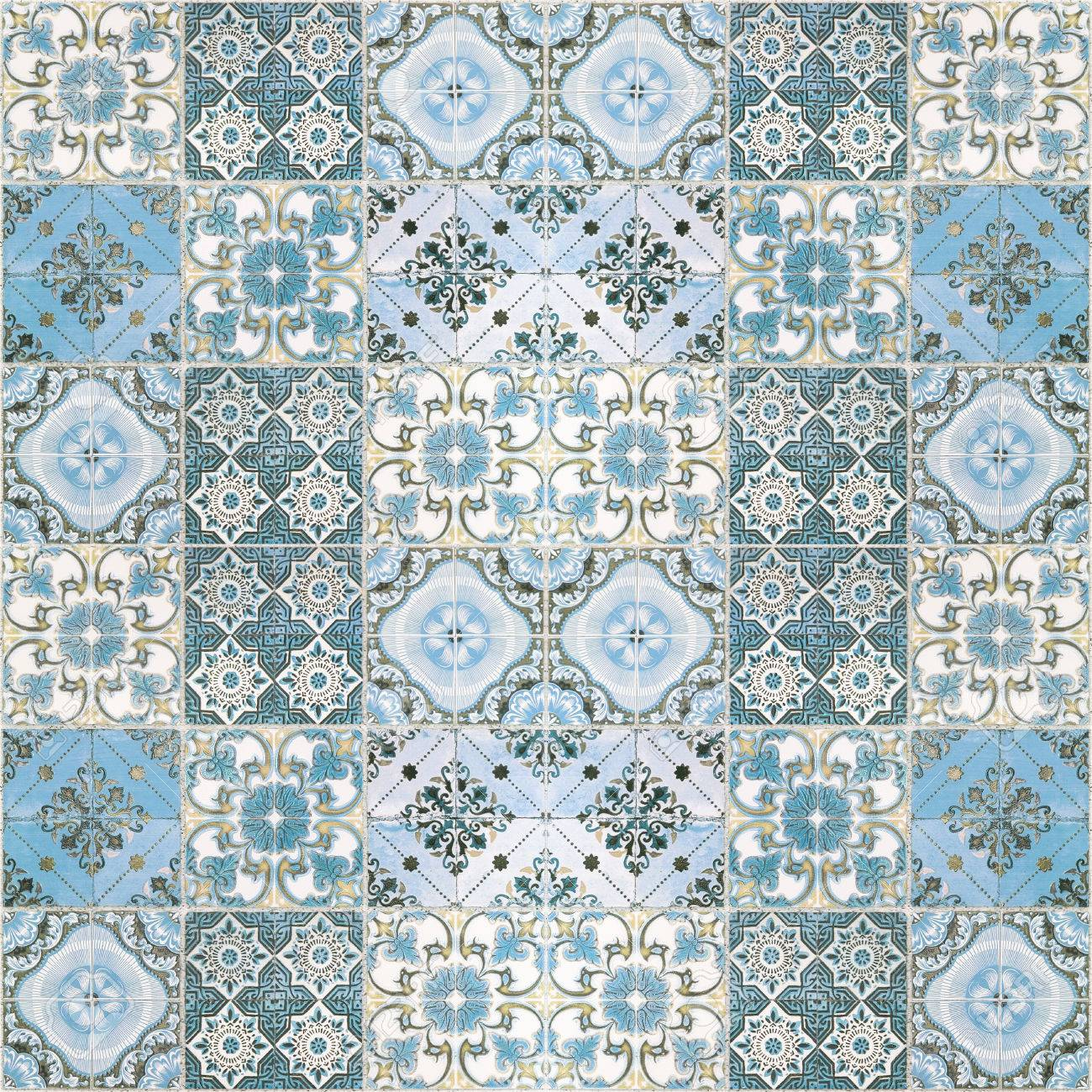 Beautiful Old Wall Ceramic Tiles Patterns Handcraft From Thailand ...