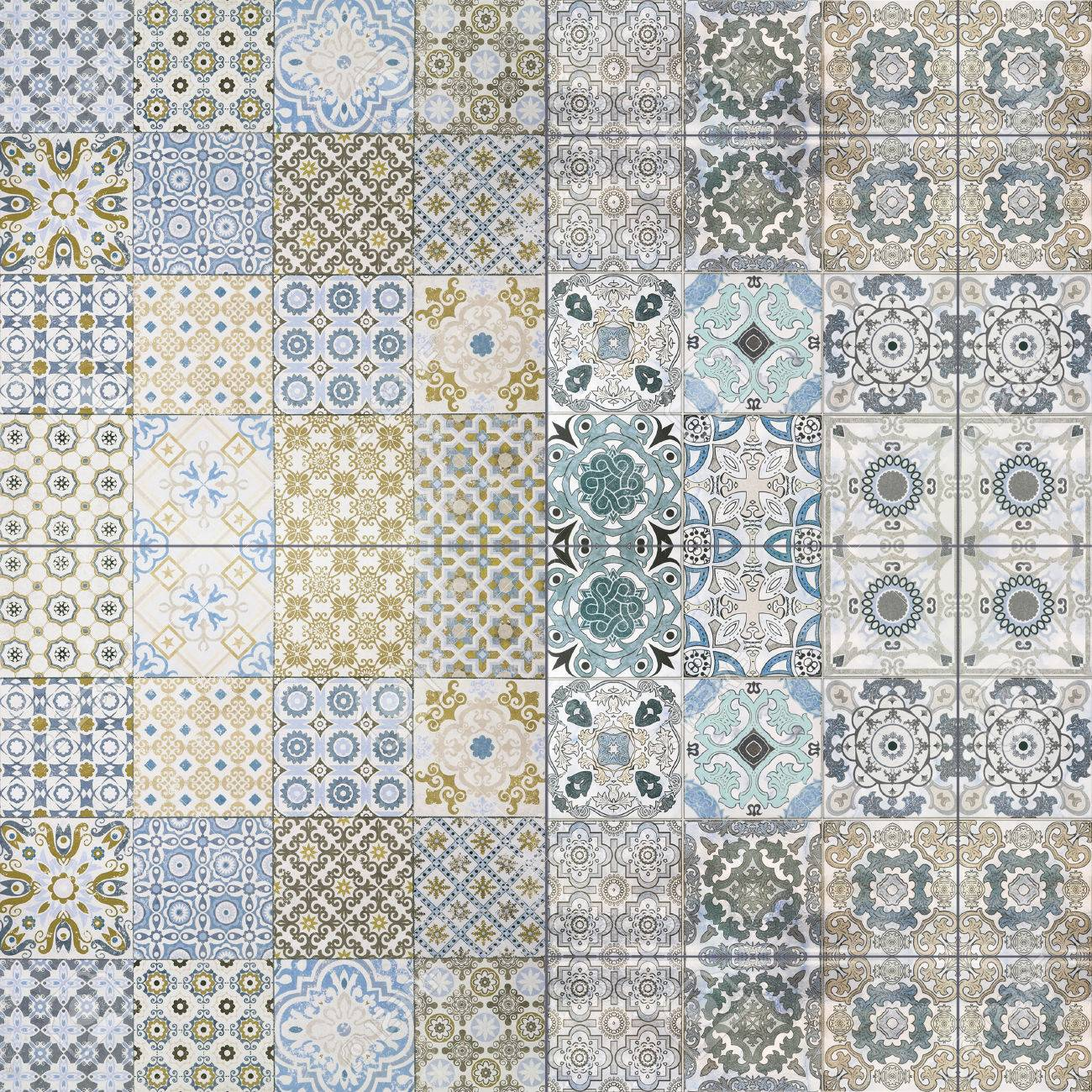 Beautiful Old Ceramic Tile Wall Patterns In The Park Public. Stock ...