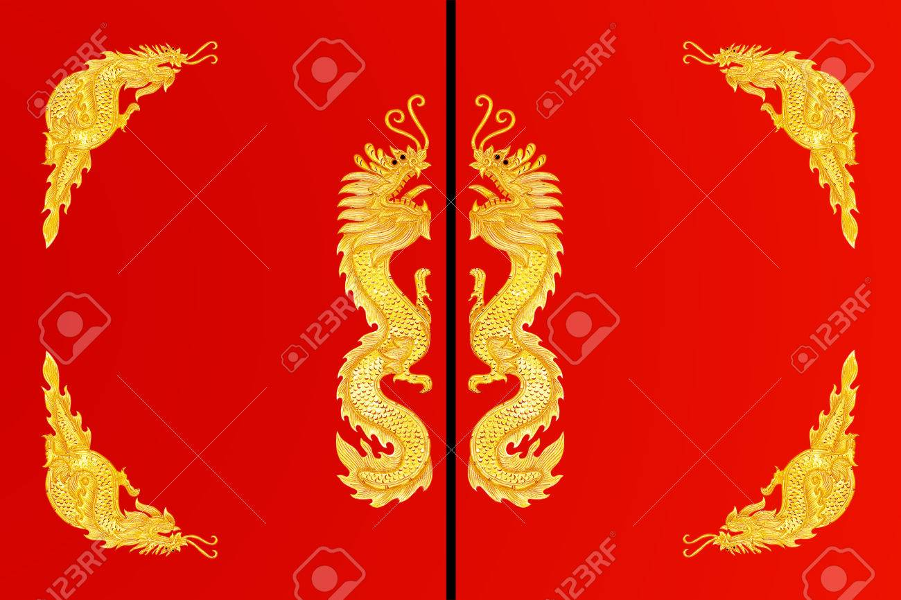 Golden Dragon Frame On Red Background Stock Photo, Picture And ...