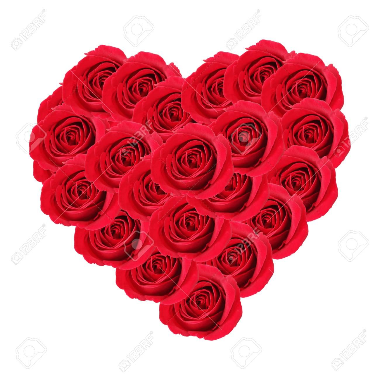 Valentinstag Herz Aus Roten Rosen Auf Weissem Hintergrund