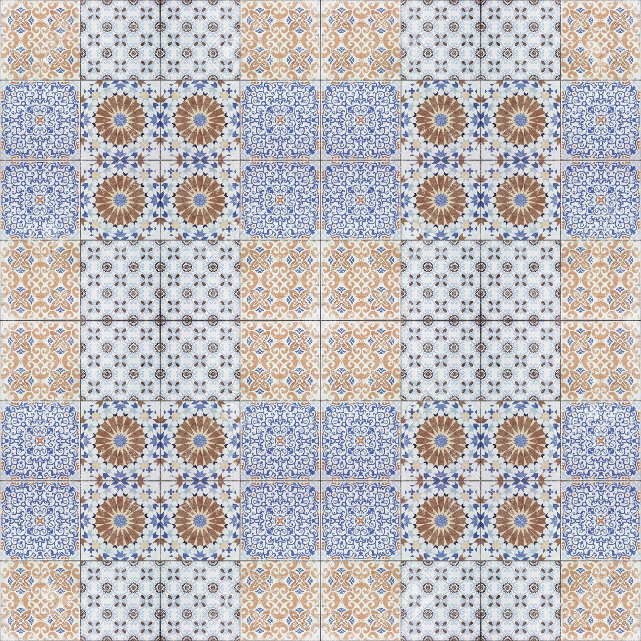 Beautiful Old Ceramic Tiles Patterns In The Park Public Stock Photo
