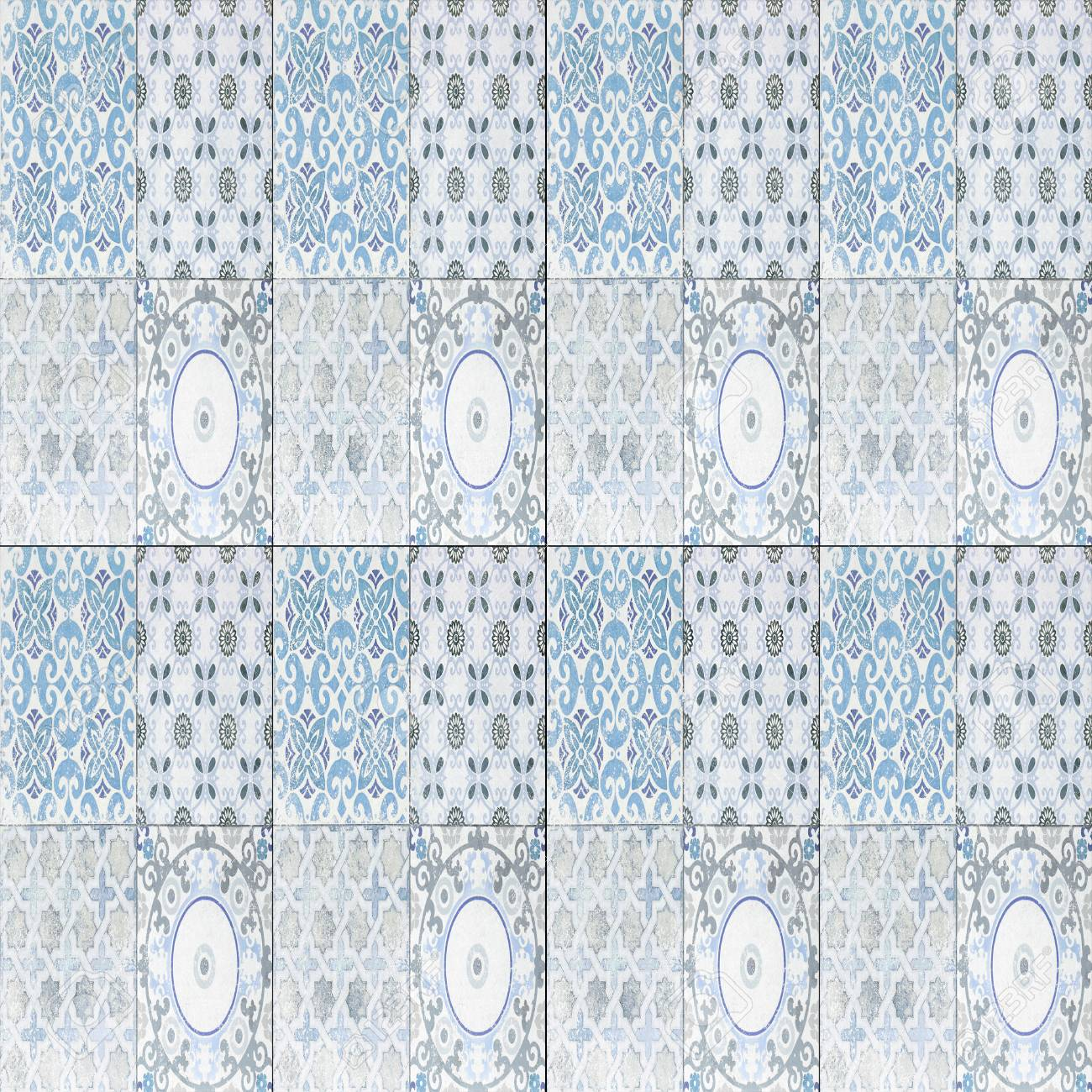 Old Ceramic Tile Wall Patterns In The Park Public. Stock Photo ...