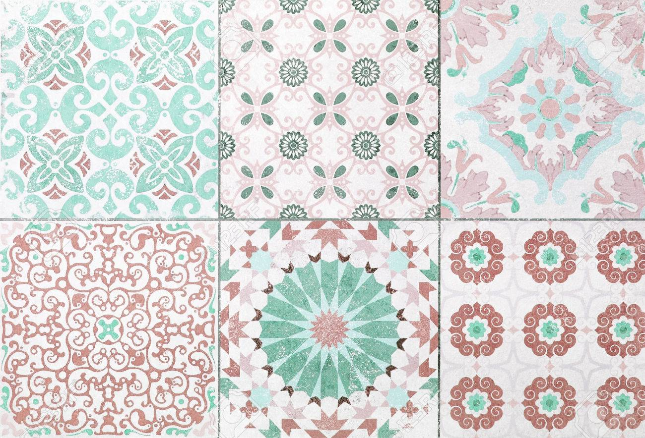Beautiful old ceramic tile patterns in the park public stock photo 80062434