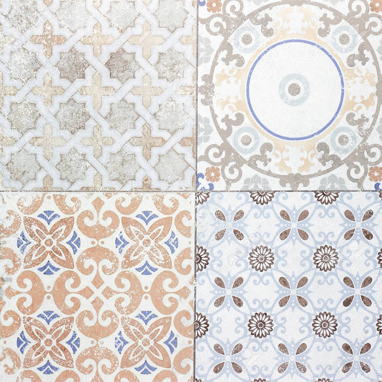 Beautiful old ceramic tile patterns in the park public stock photo 80062482
