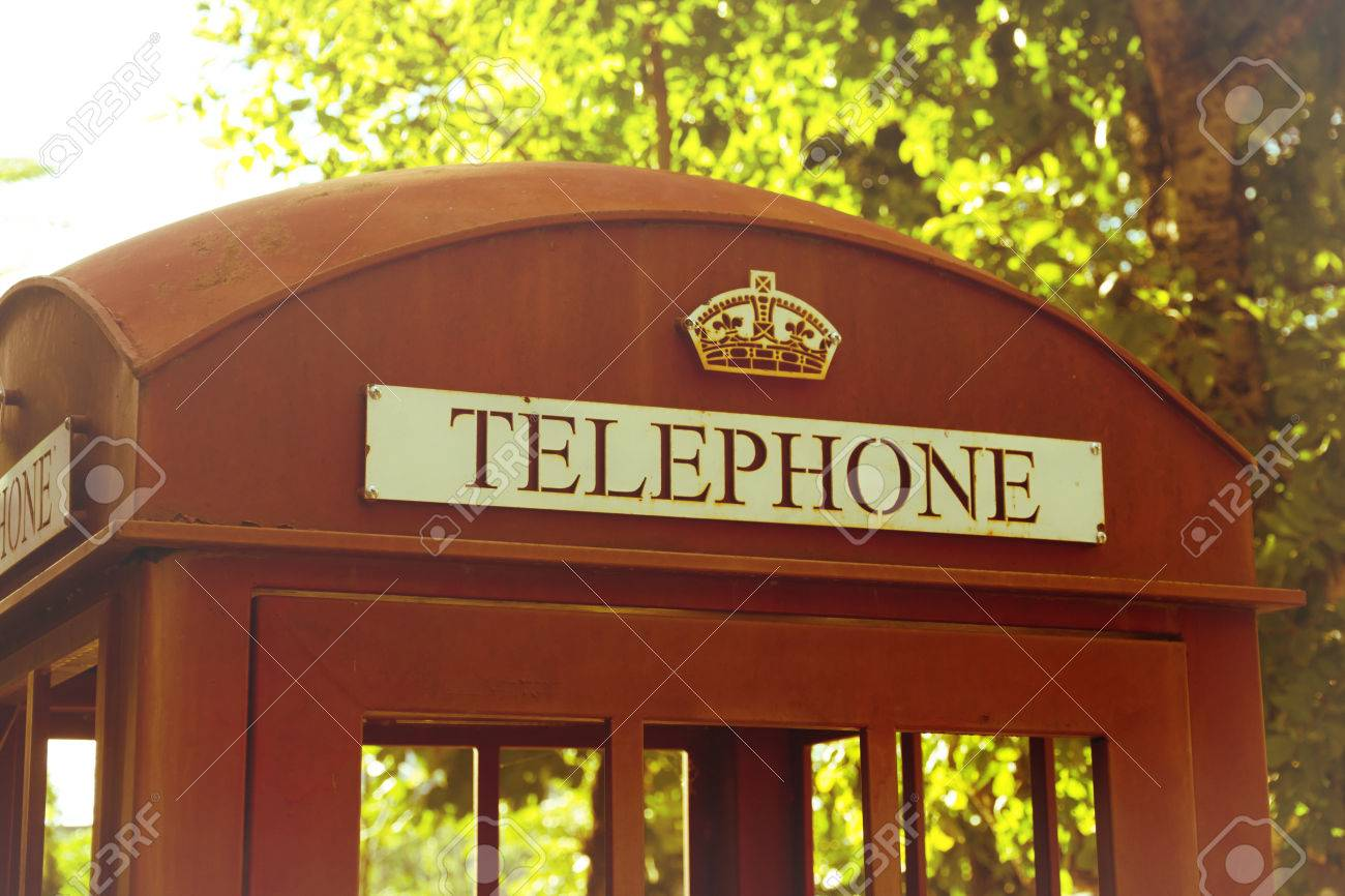 Traditional Red Phone booth,vintage filtered