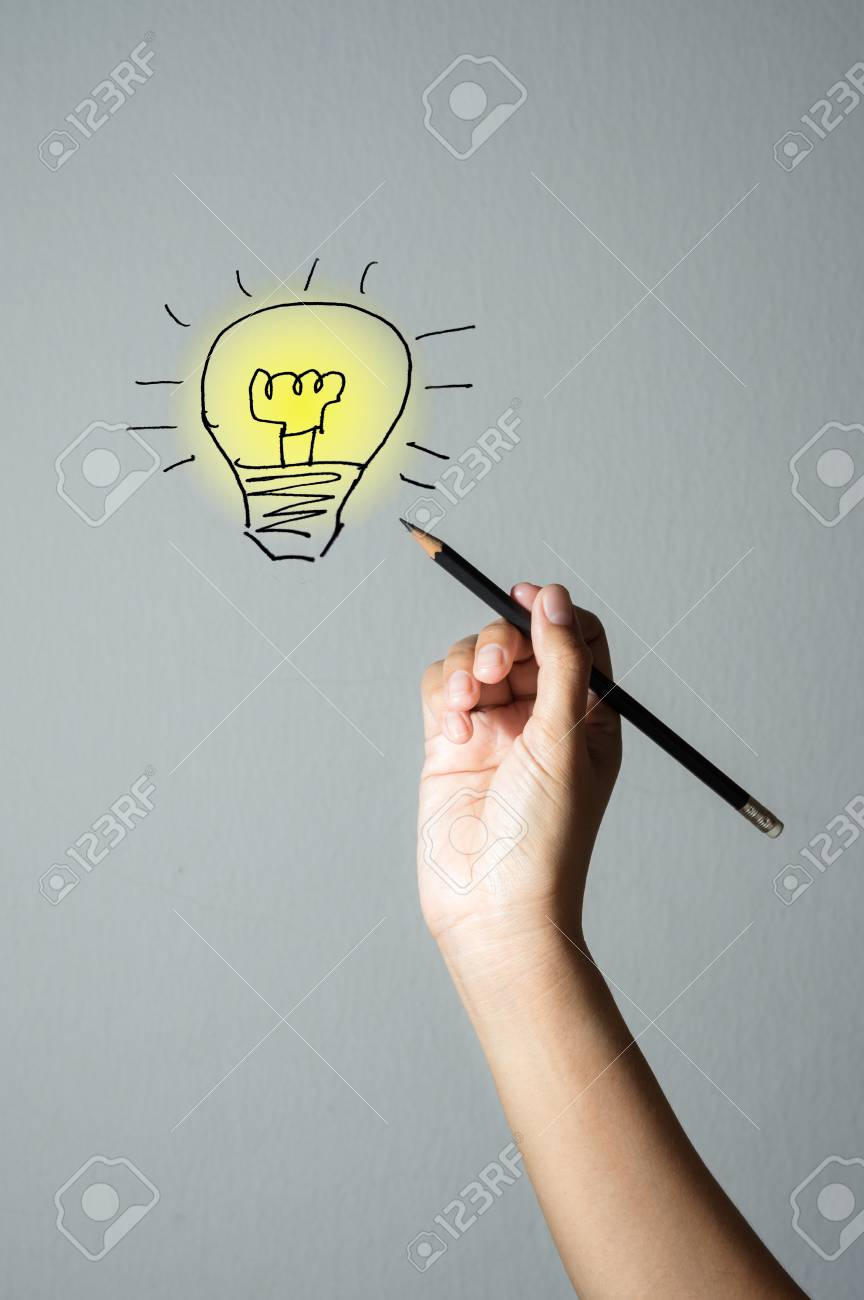 woman hand writing idea lighting lamp stock photo picture and rh 123rf com