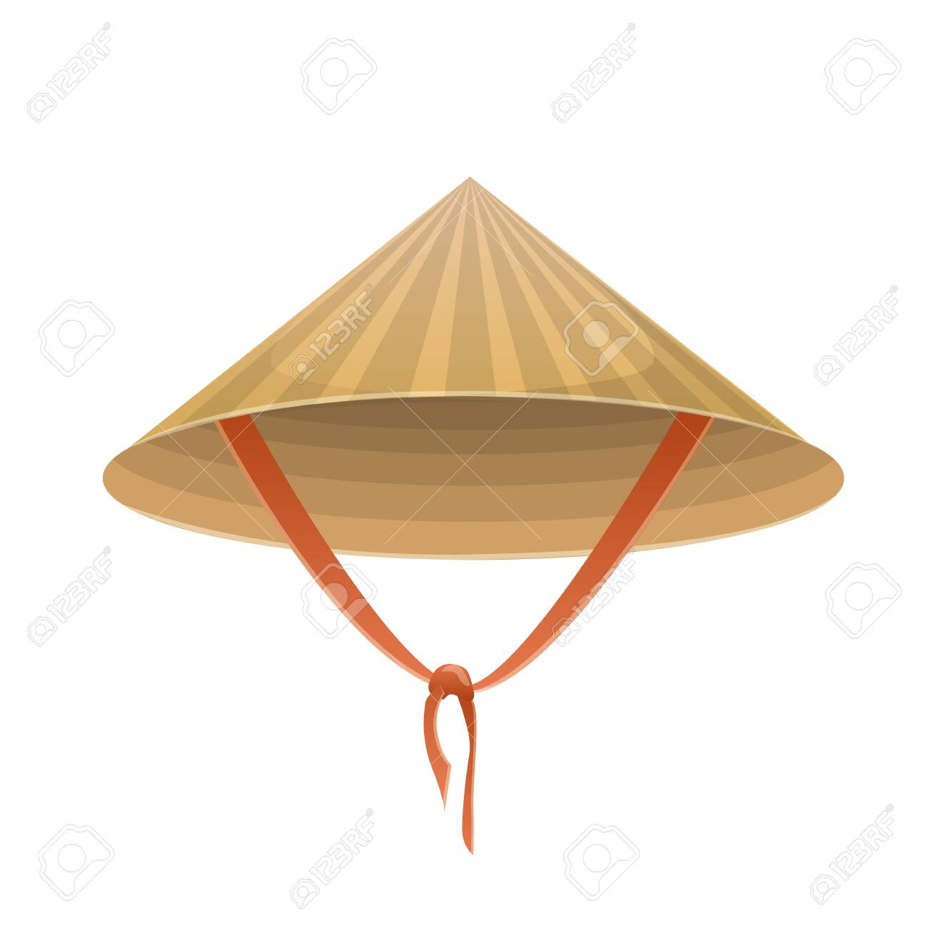 Chinese hat in the form of a cone with a tie on a white background. - 138367641