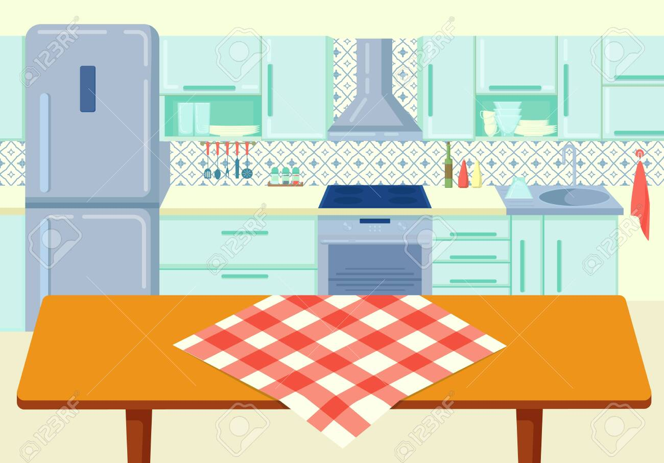 Cartoon Wooden Kitchen Table With Tablecloth At Cuisine Background
