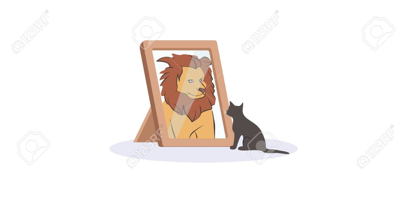 Small black cat looking herself at mirror as huge fierce lion vector graphic illustration. Domestic cartoon kitty animal pretend wild beast with big maned isolated on white background - 141229531