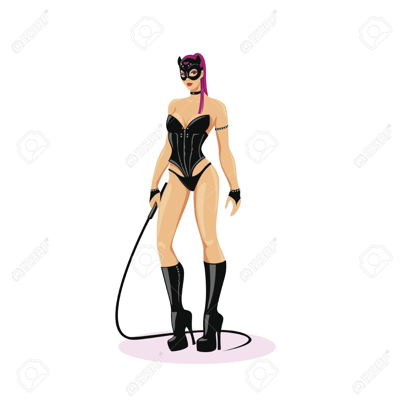 Beautiful, dominant mistress. Girl in latex, sensual underwear with a whip. - 145848866