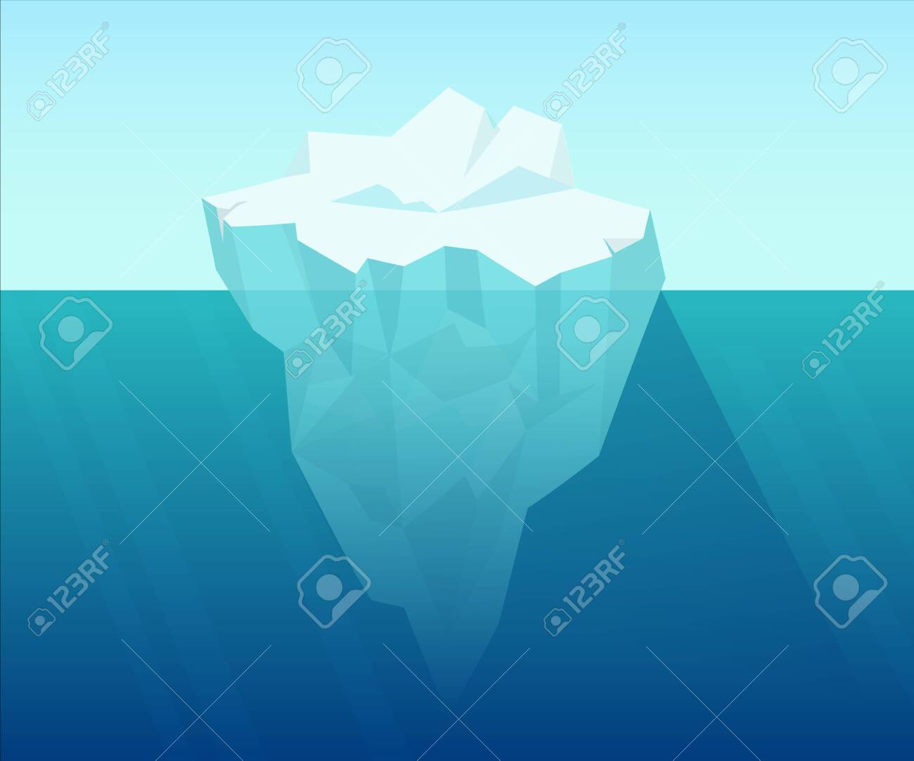 Iceberg in ocean. Underwater block of ice floating from arctic cold compressed snow global climate warming northern water landscape huge white polygon on blue background vector water. - 153724202