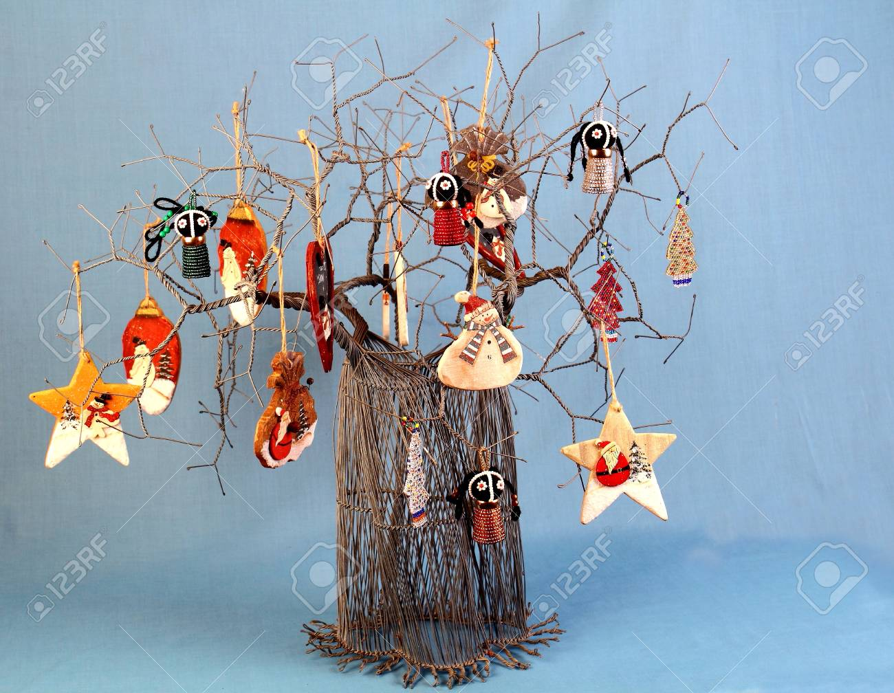African Christmas.Authentic African Wire Art Christmas Tree Decorated With Handmade