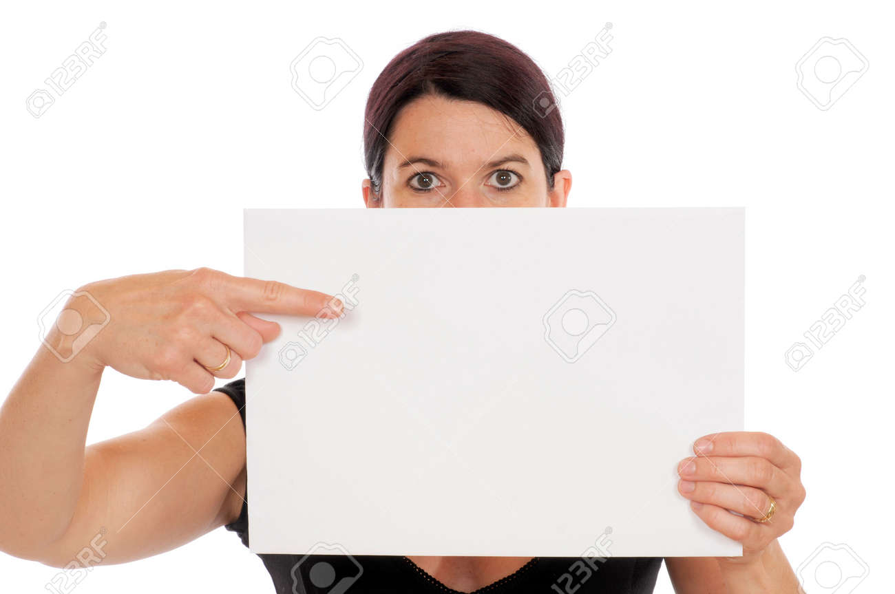 A young woman is showing a piece of papier Stock Photo - 6116091