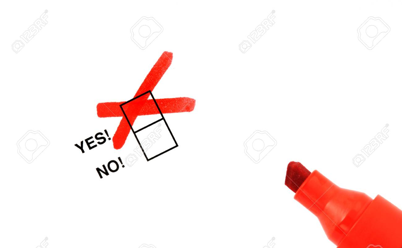 Checkbox for selection on white paper with red marker pen Stock Photo - 8097535