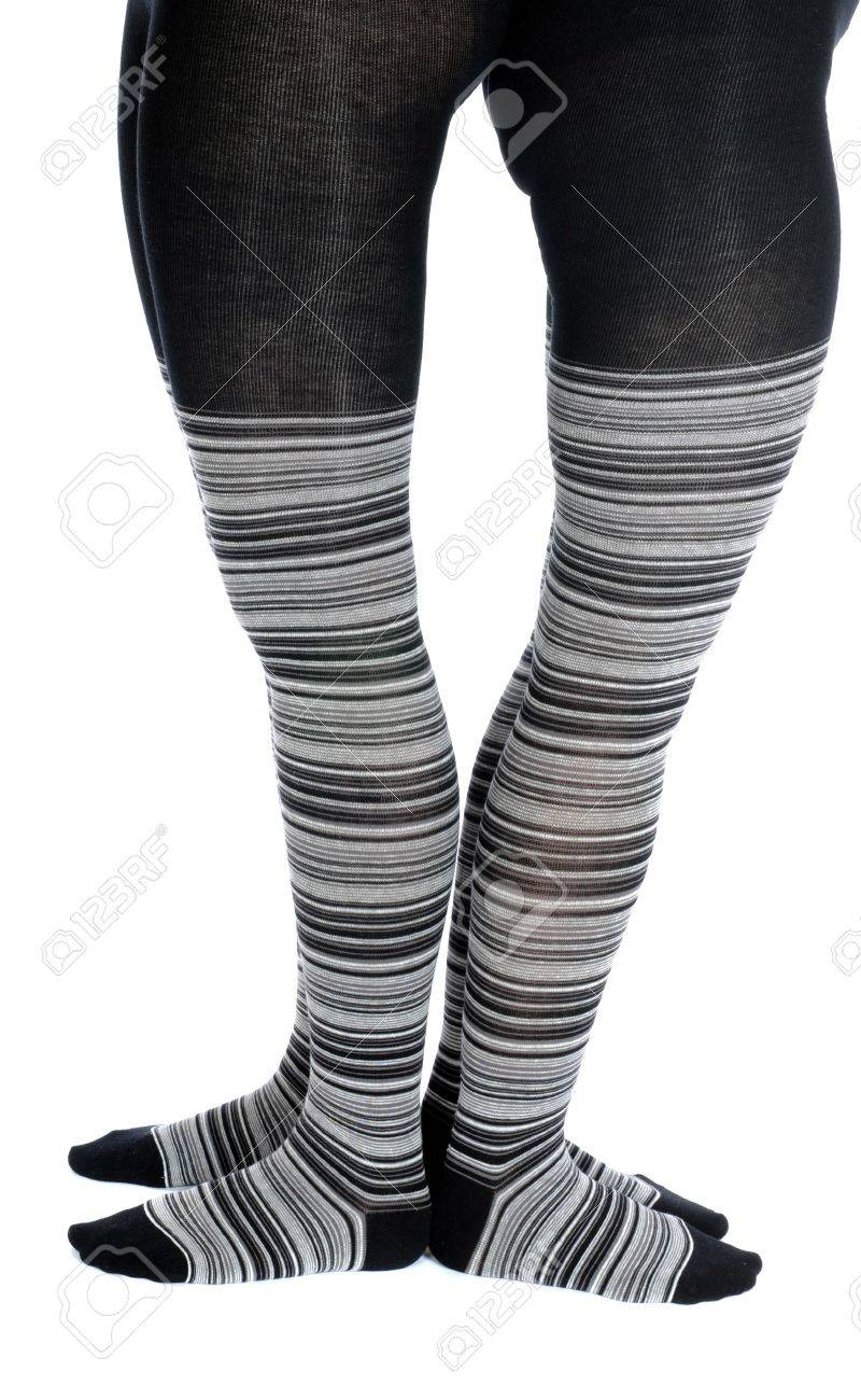 Legs in a grey pattern pantyhose Stock Photo - 8097614
