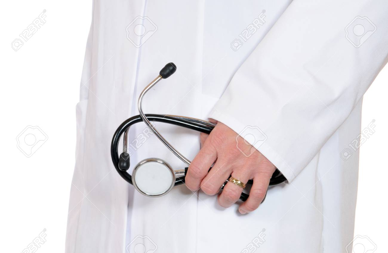 Doctor in lab coat with stethoscope Stock Photo - 12471182