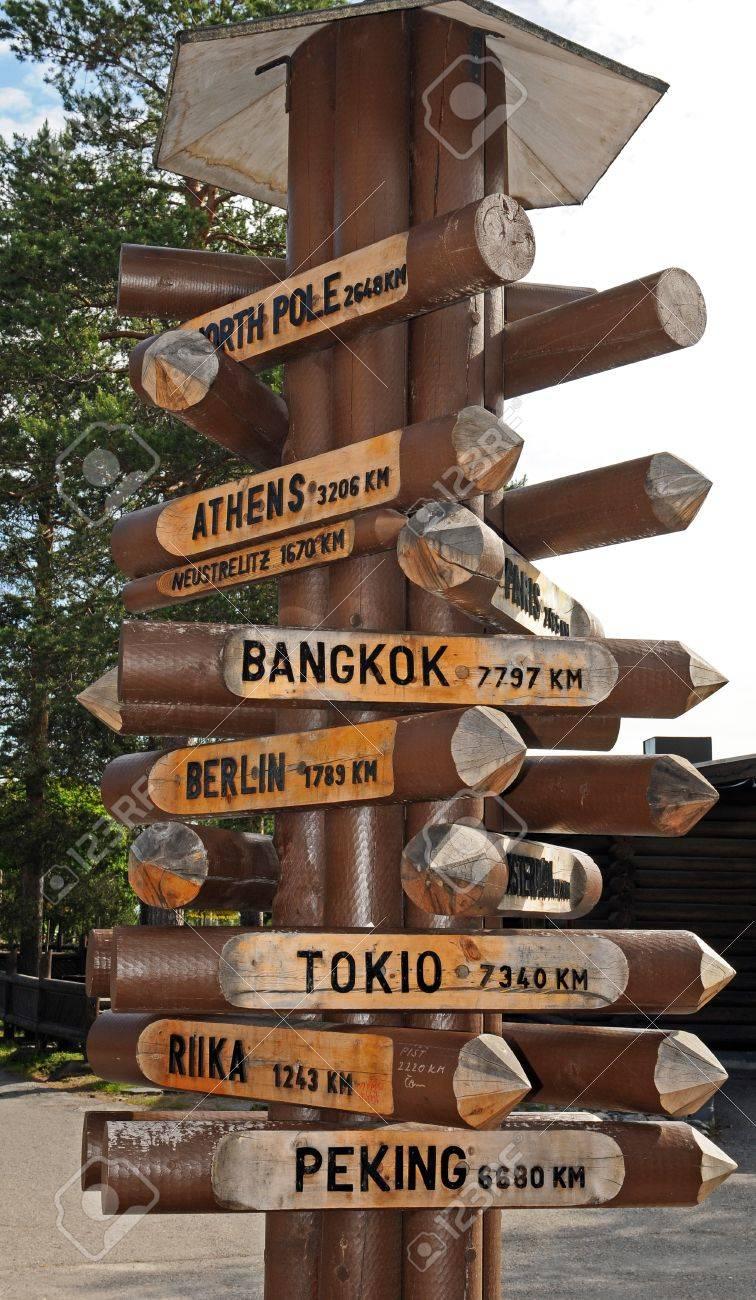 International direction sign at Santas Village  in Rovaniemi in Finland Stock Photo - 12943479