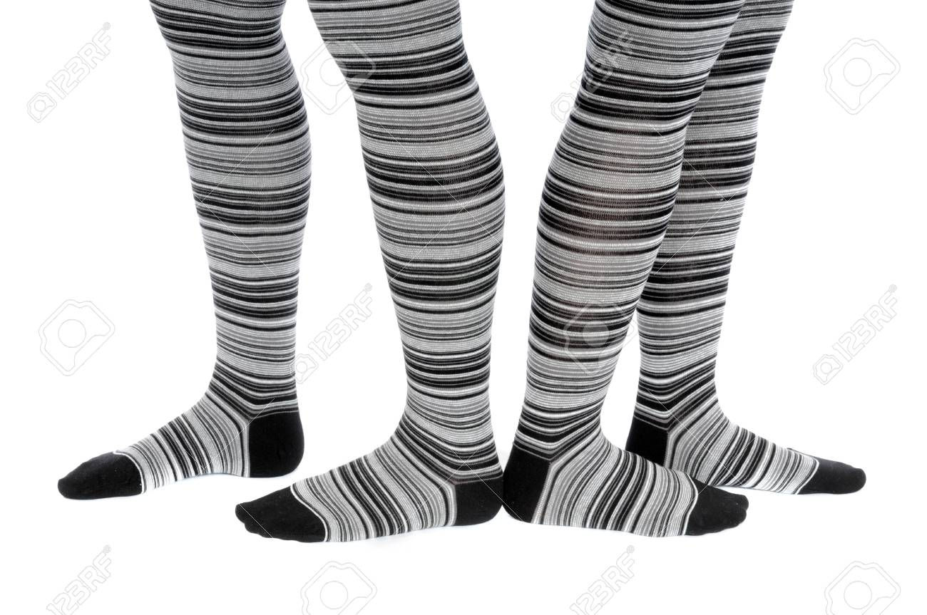 Legs in a grey pattern pantyhose Stock Photo - 15192433