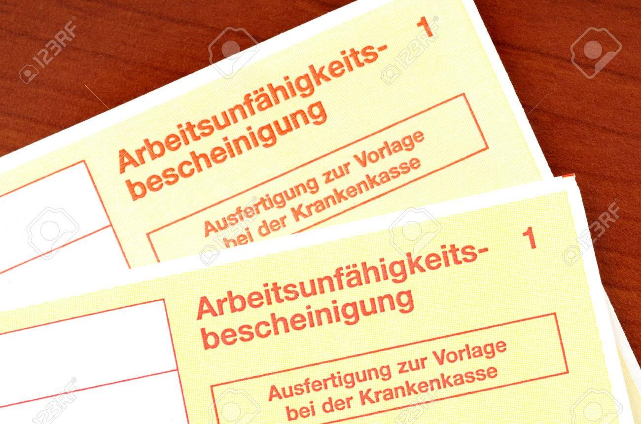 Deutsch Zertifikat Der Arbeitsunfähigkeit Lizenzfreie Fotos Bilder