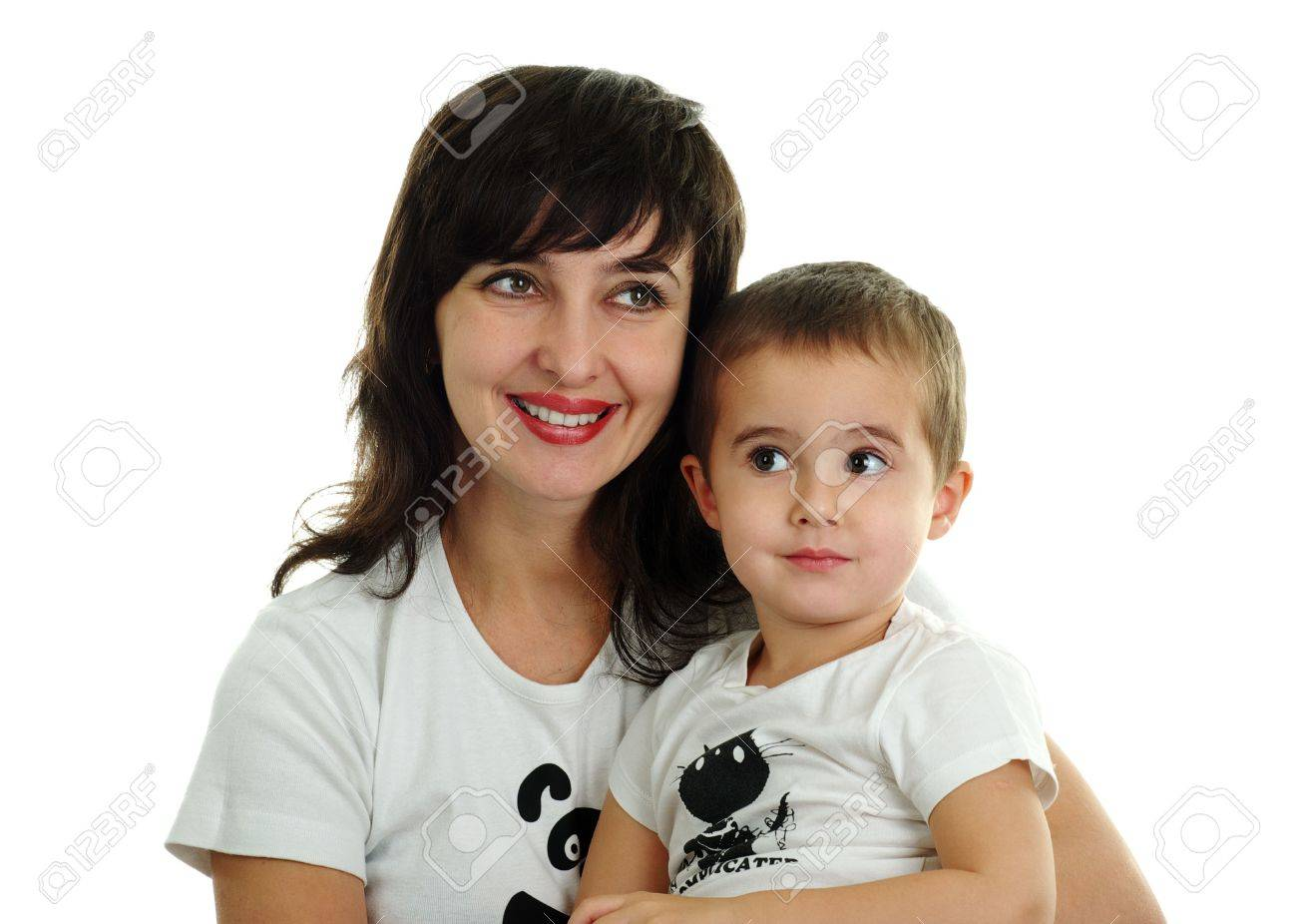 Mother and son in white T-shirts isolated on white background Stock Photo - 5945442