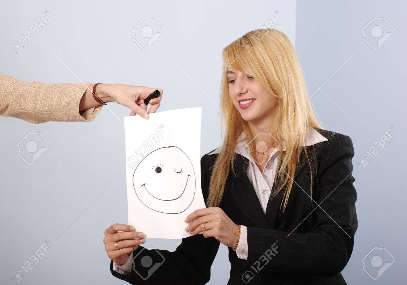 Blonde women in the office recieve the good mood message Stock Photo - 5981548