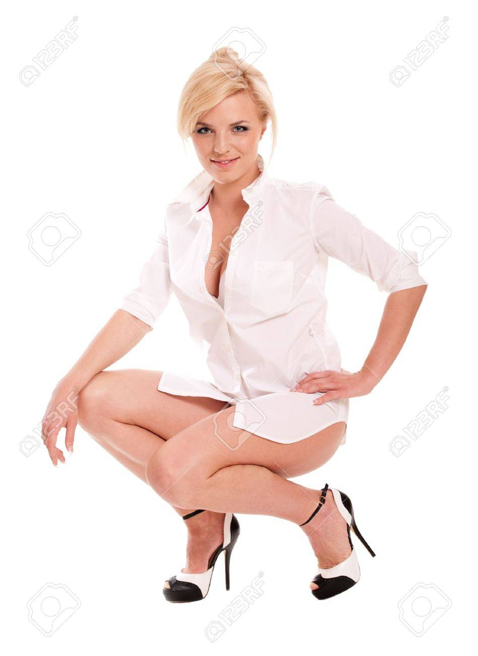 Sexy Blonde Woman In White Shirt On Heels Isolated On White Stock ...