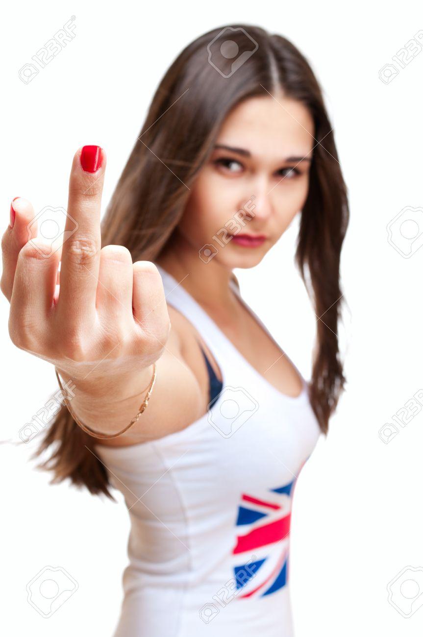 Фото с девушкой показывающей средний палец