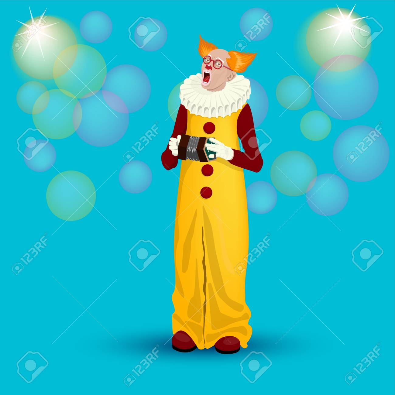Funny singing clown with an accordion on a turquoise background funny singing clown with an accordion on a turquoise background for greeting cards posters m4hsunfo