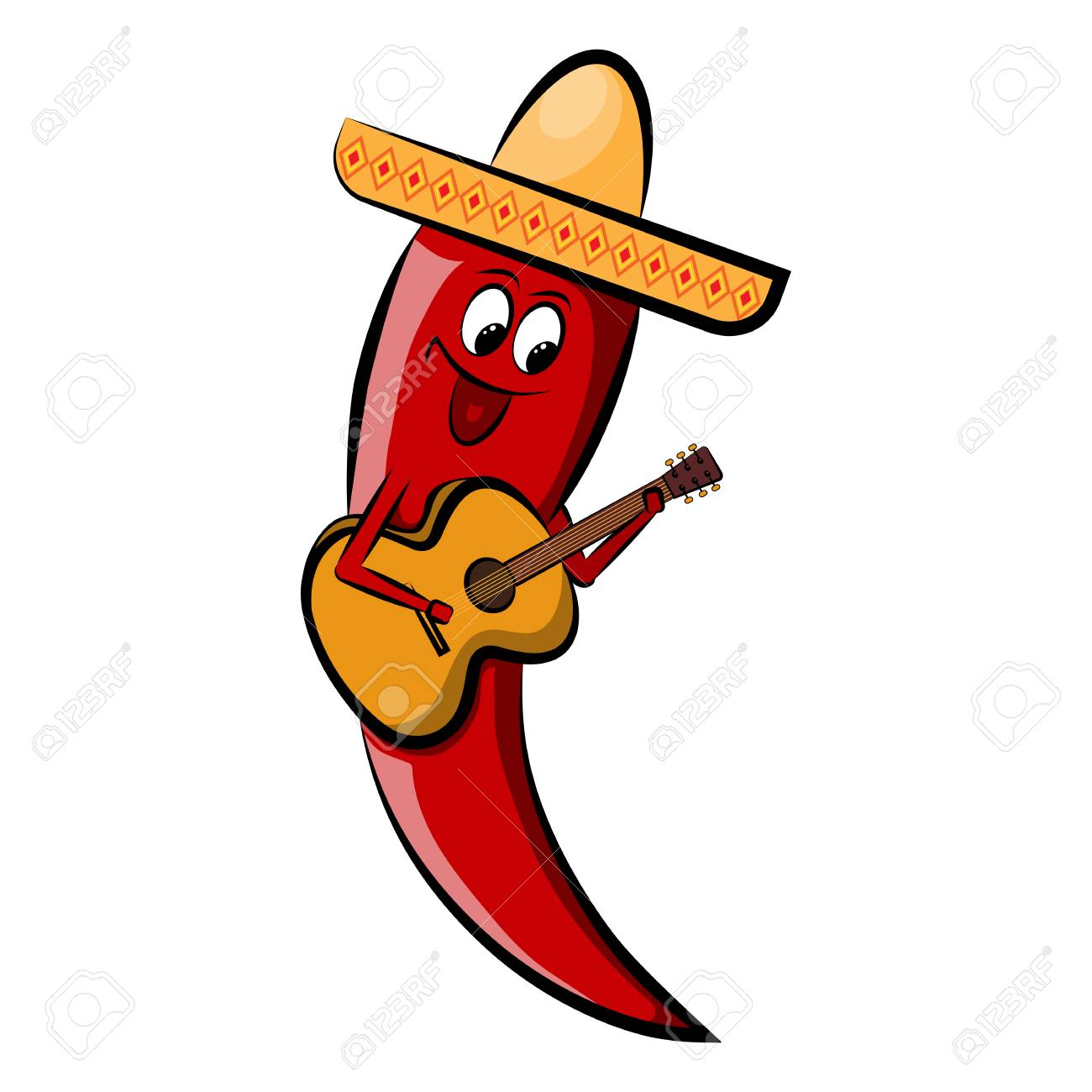 Red pepper in a sombrero with a guitar holidays cinco de mayo red pepper in a sombrero with a guitar holidays cinco de mayoctor illustration m4hsunfo
