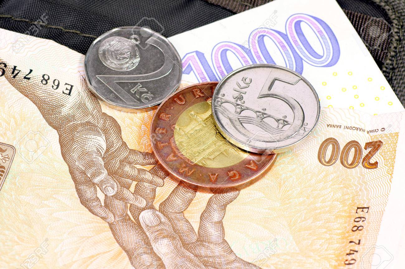 Czech money  crowns  lying on the wallet Stock Photo - 23483156