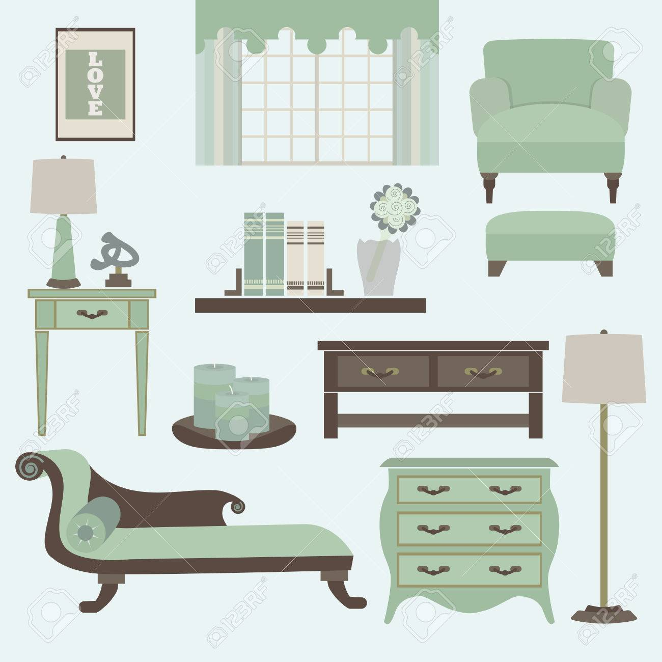 Living Room Furniture And Accessories In Color Teal Royalty Free ...