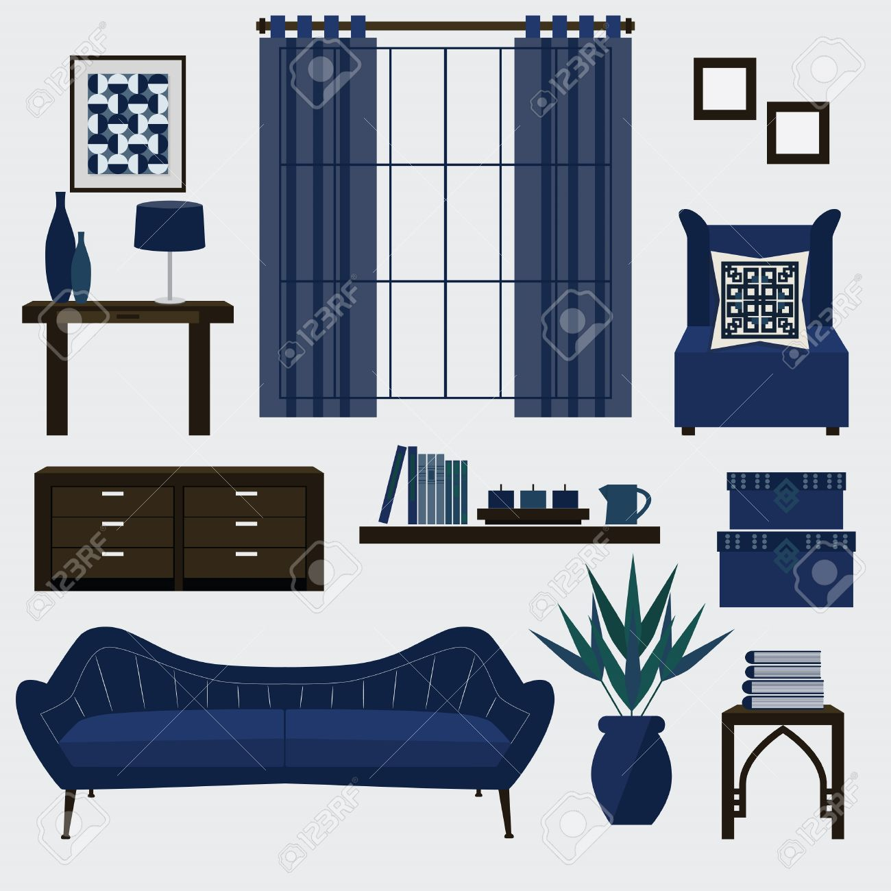 Living room furniture and accessories in color navy blue Stock Vector    34909437. Living Room Furniture And Accessories In Color Navy Blue Royalty
