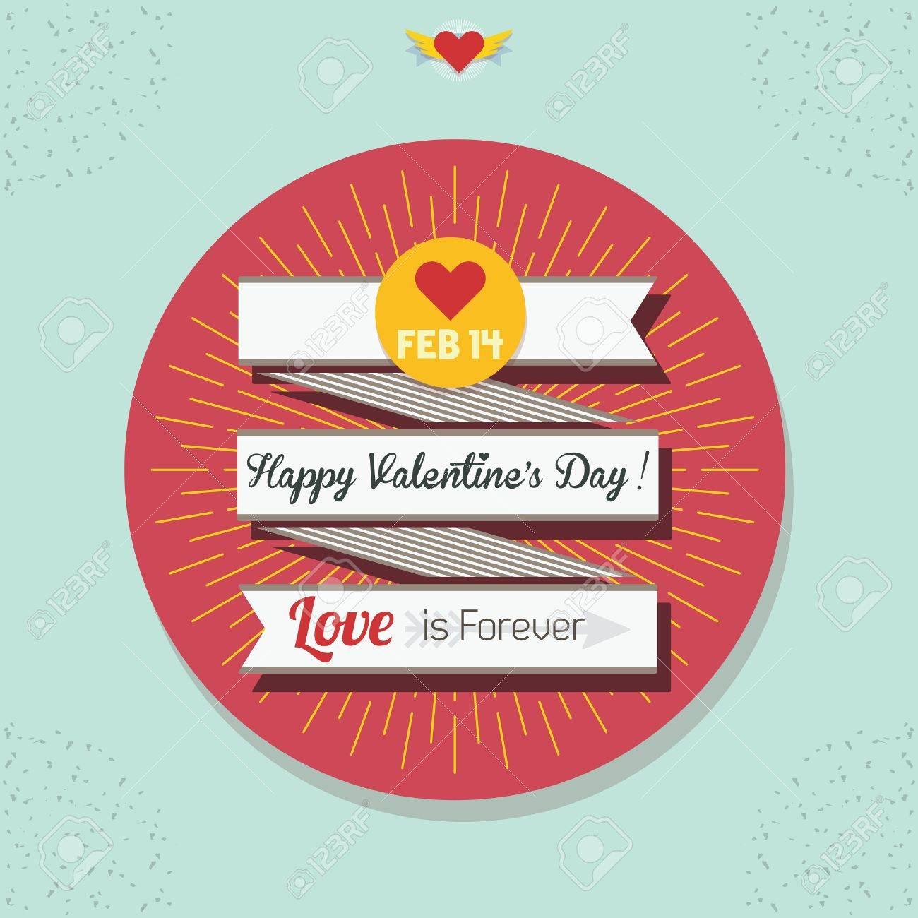 Cute Happy Valentine S Day Flat Ribbon Banner With Yellow Sunburst