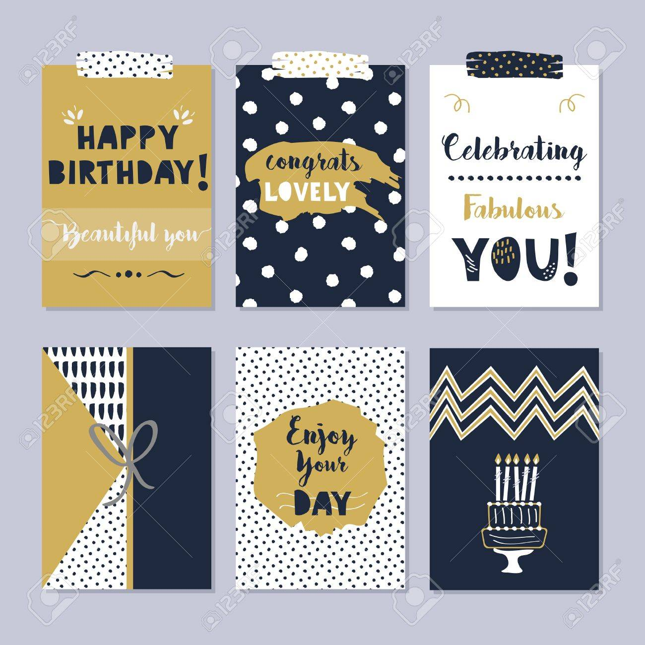 Golden and dark navy blue happy birthday cards set on trendy golden and dark navy blue happy birthday cards set on trendy gray background stock vector bookmarktalkfo Choice Image