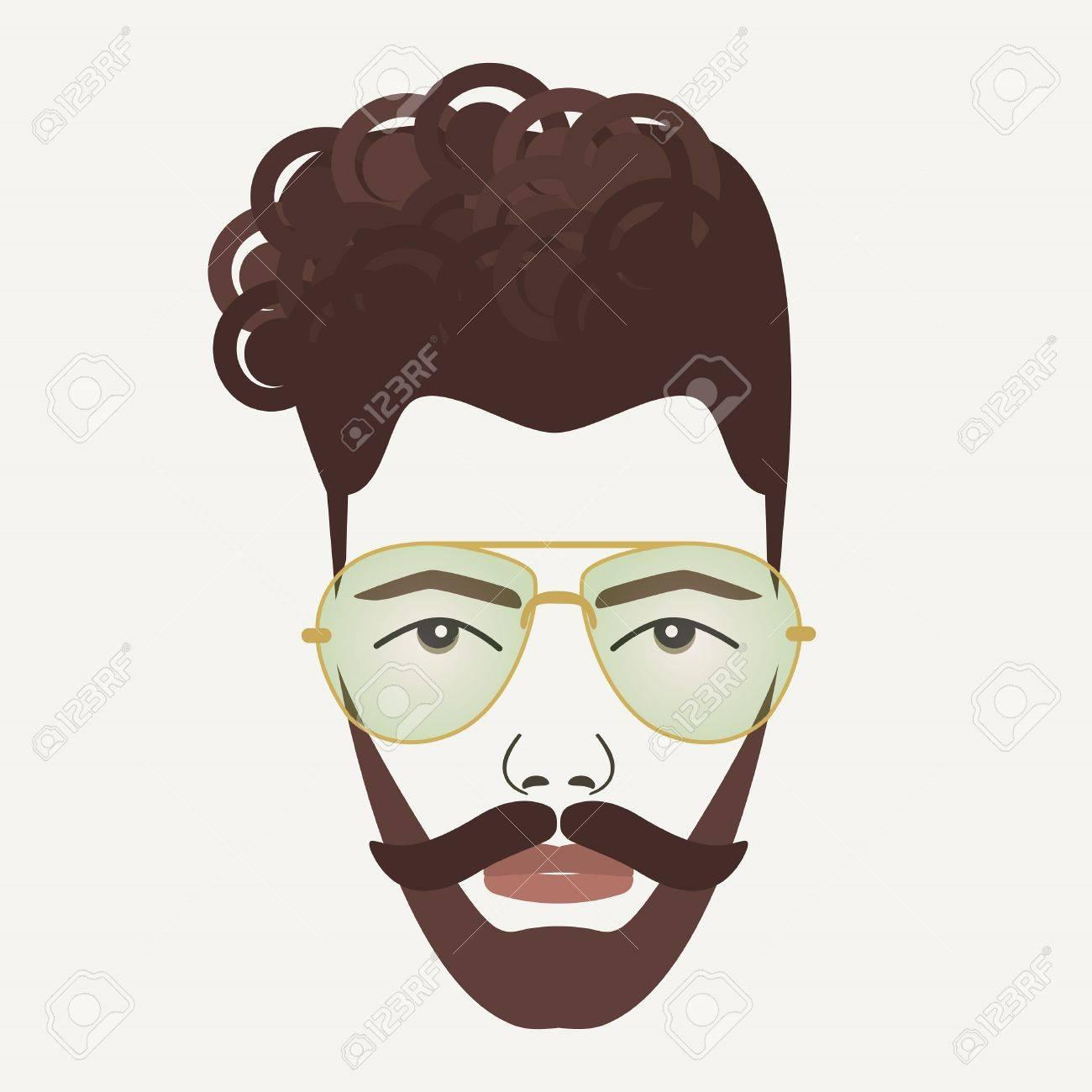 Junge Dunkelbraune Haare Hipster Mann Mit Schnurrbart, Bart Und ...