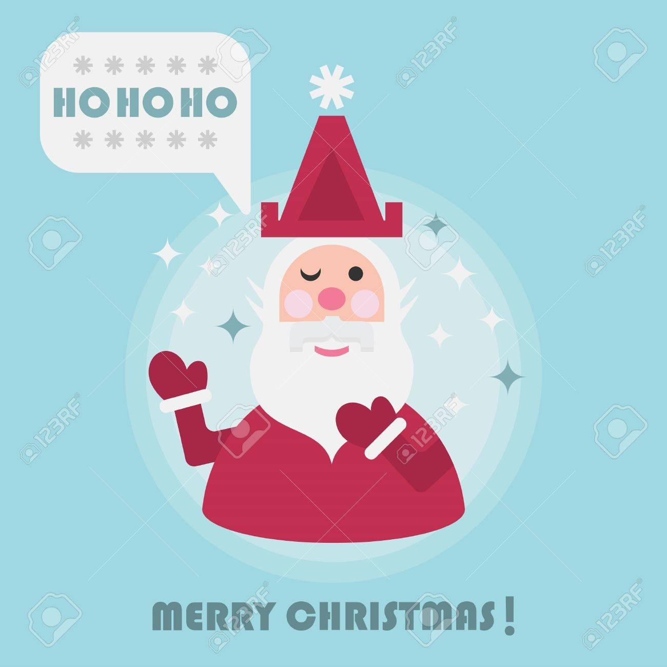 Merry Christmas Holiday Card With Cute Santa And Ho Ho Ho Speech ...
