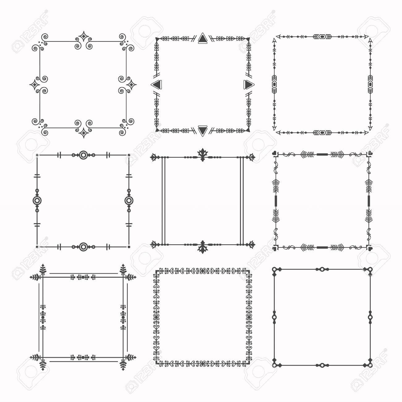 Schwarze Moderne Linie Quadratische Rahmen Und Grenzen Emblem ...