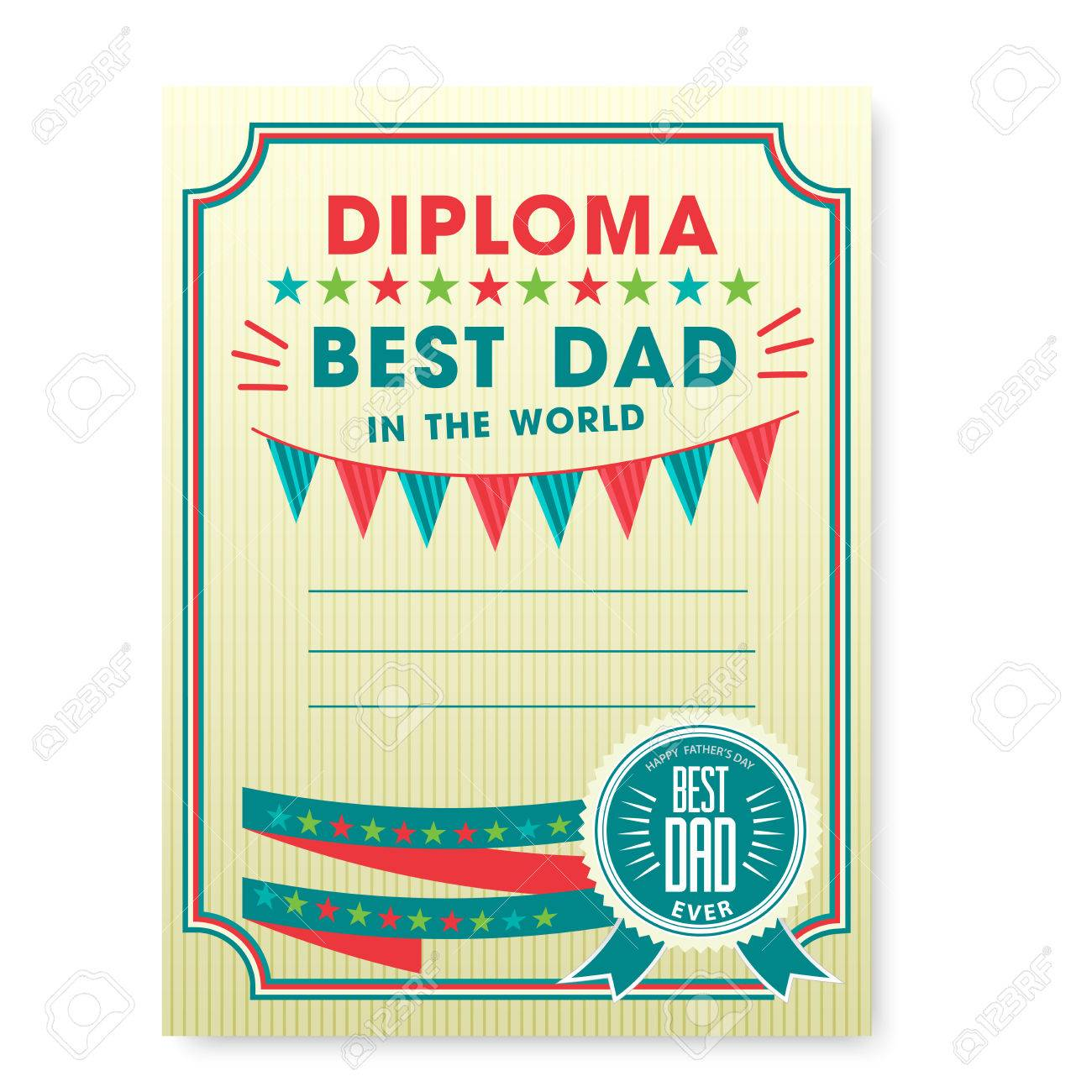 happy fathers day card vintage retro worlds best dad diploma