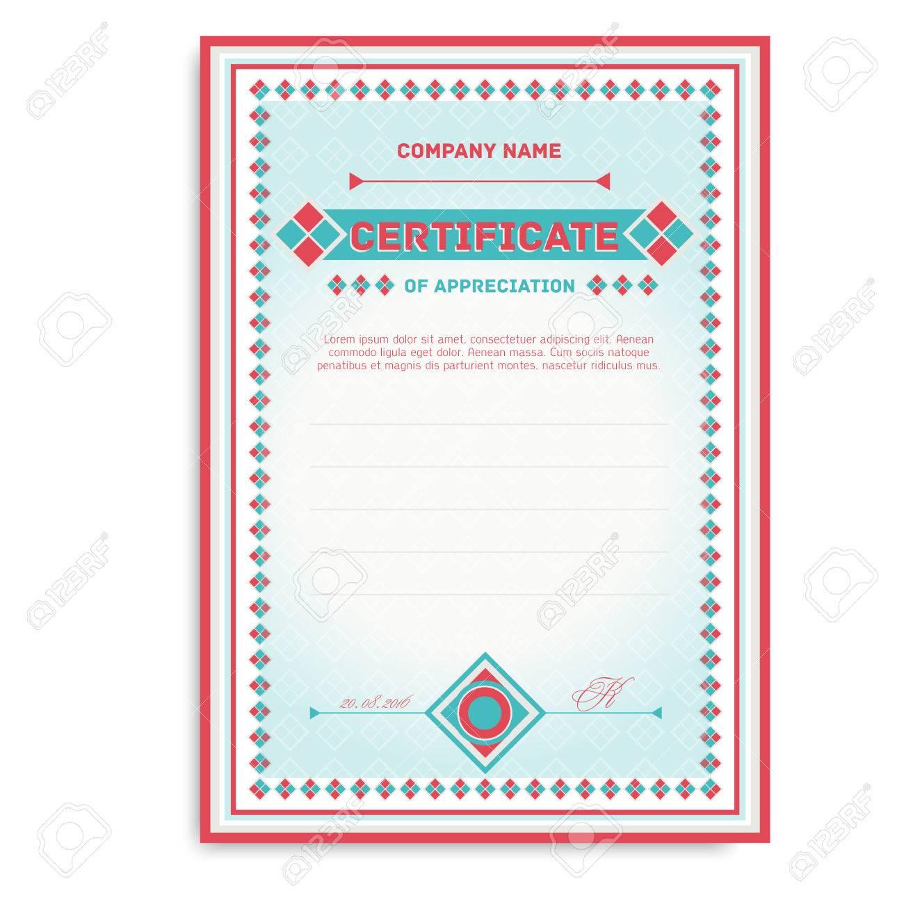 Vorlage Zertifikate In Sanften Farben Mit Einem Ornament Für Die ...