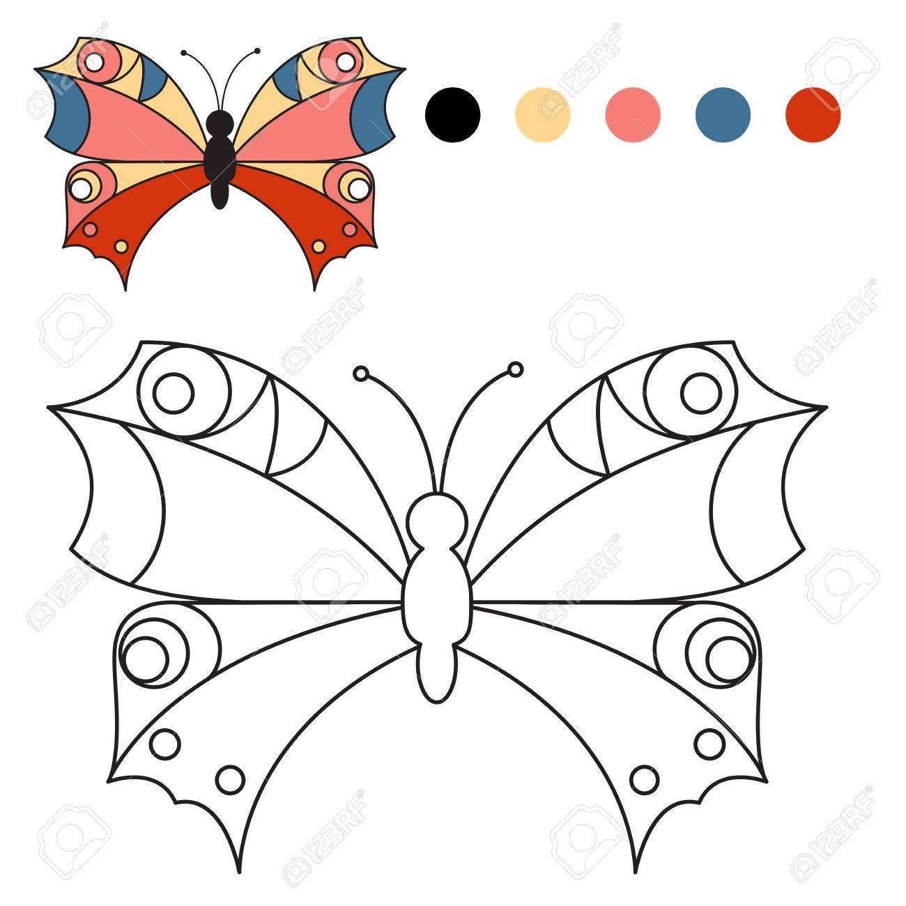 Libro Para Colorear. Mariposa Para Colorear Para Los Niños En Un ...