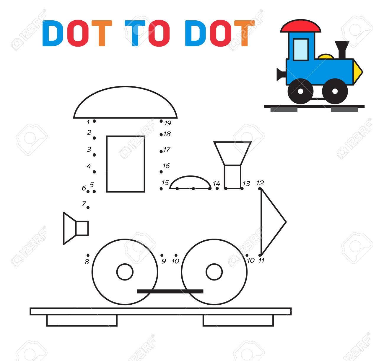 Conecte Los Puntos Ilustración Juego Tren Vector Ilustraciones ...
