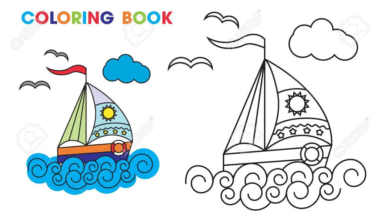 Libro De Colorear Velero En Las Olas Para Enseñar A Los Niños En Casa O En El Jardín De Infantes Ilustración Vectorial