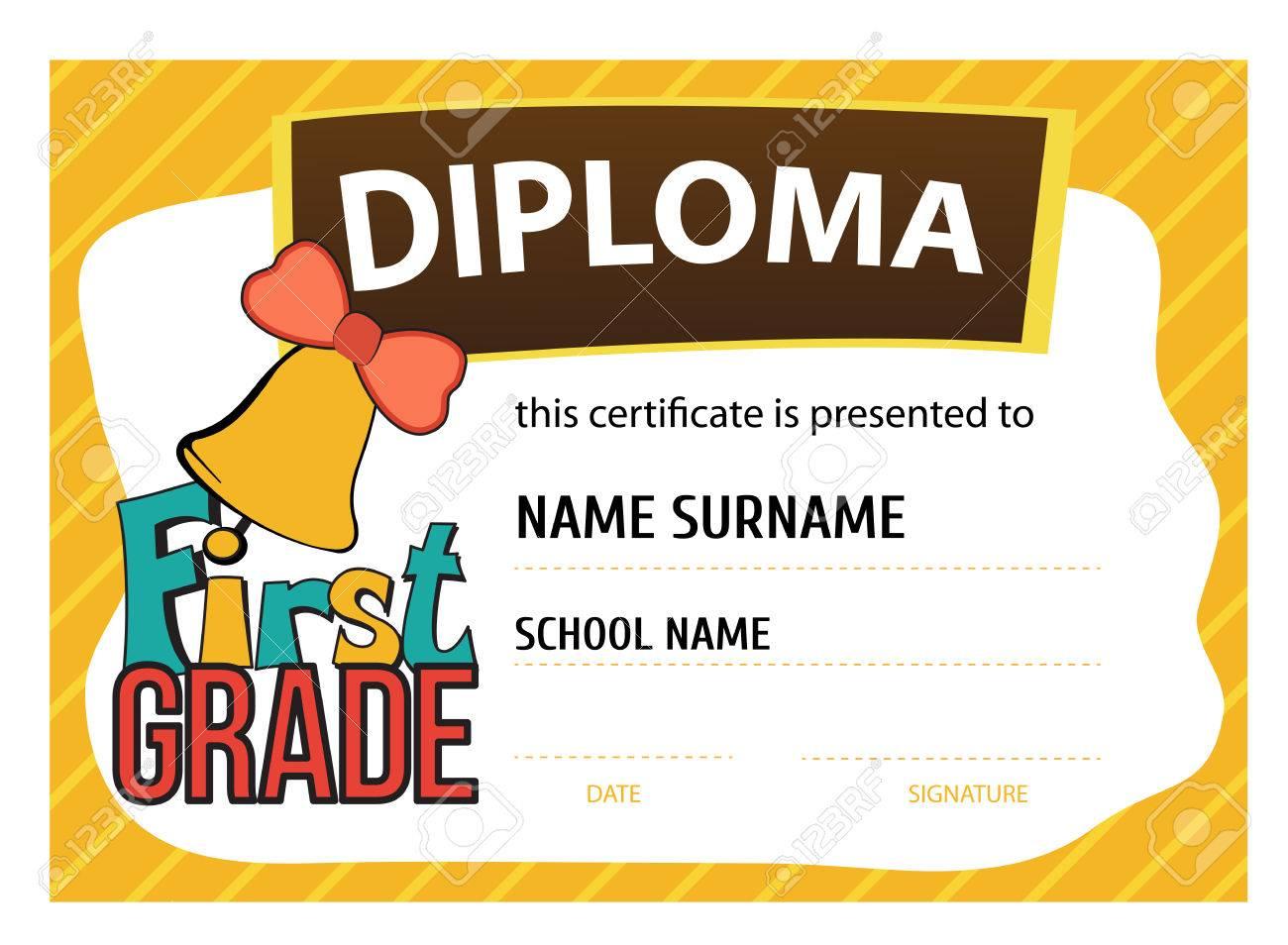 Vorlage Vektor Der Kinder Diplom Oder Zertifikat Auf Den ...