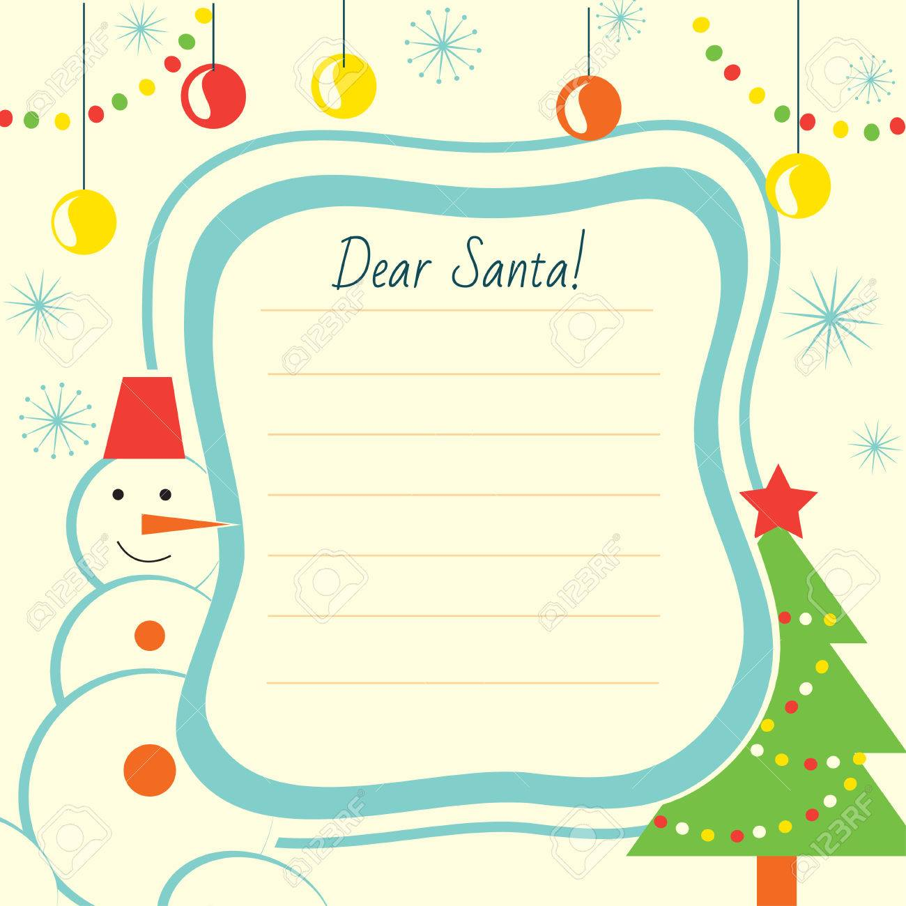 Christmas Letter Template To Santa Claus For Print Or Website