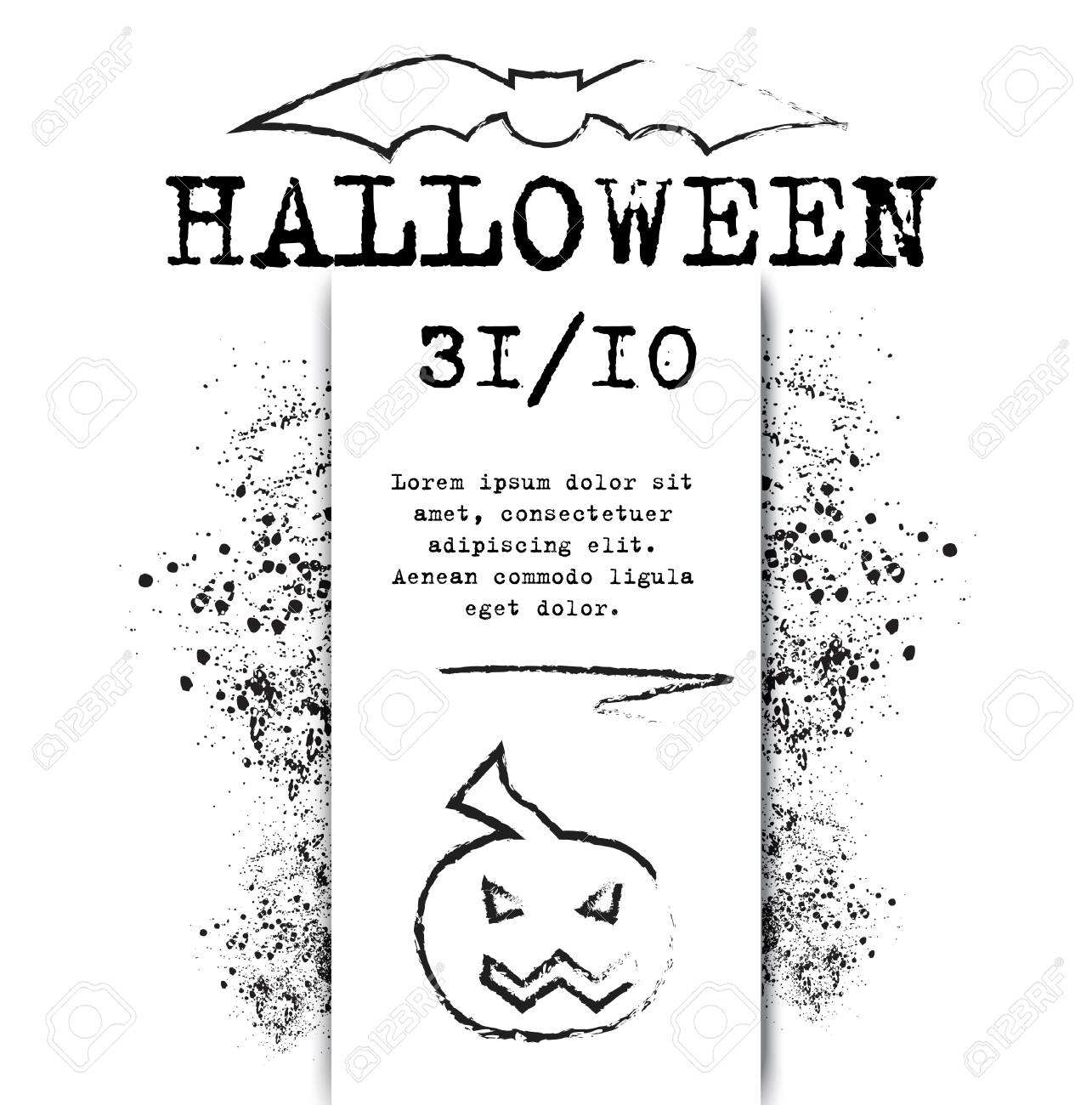 Template Halloween Invitation For Print Or Website Vector Illustration Stock