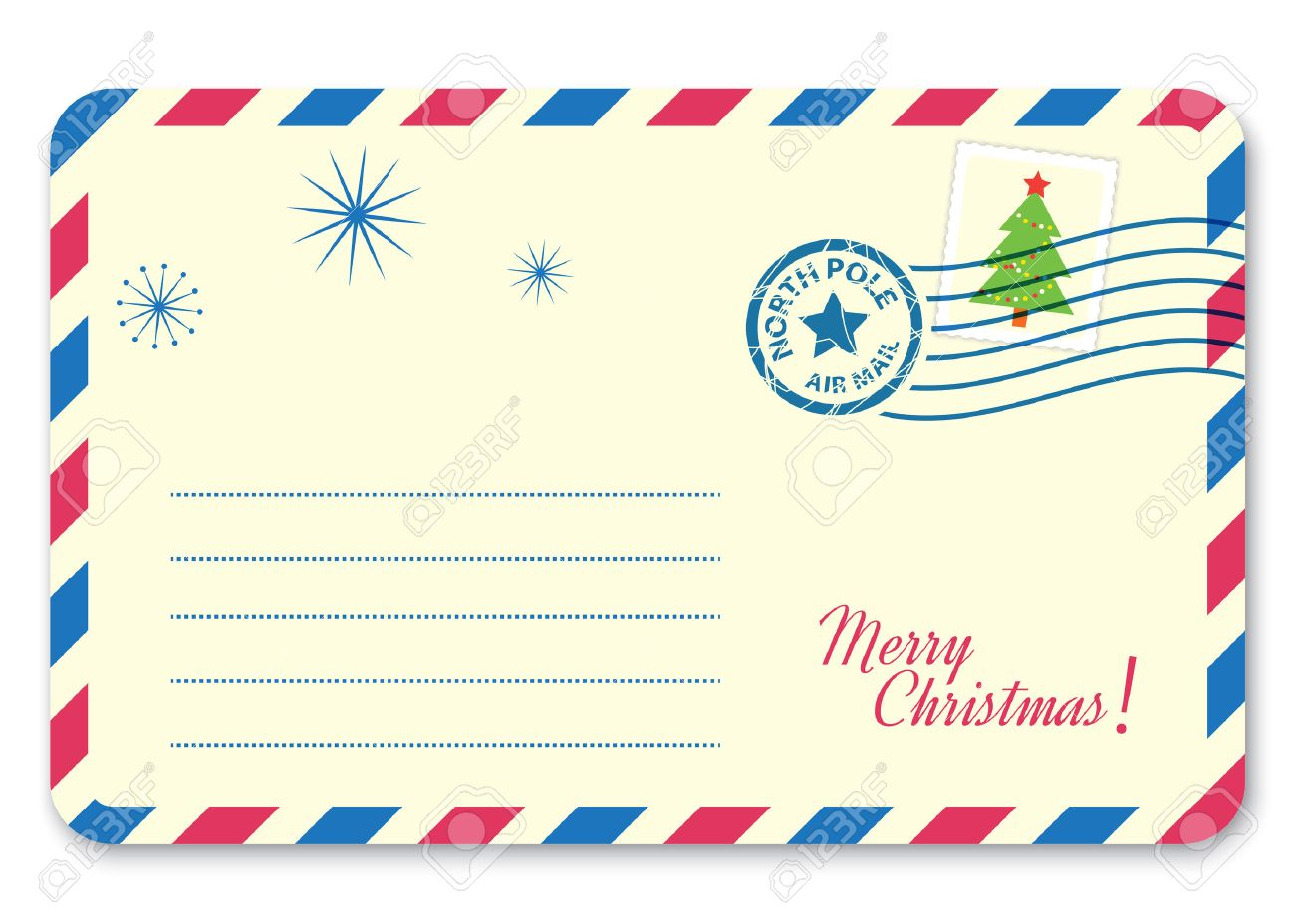 template new years letter to santa claus with stamp and postage mark vector illustration stock