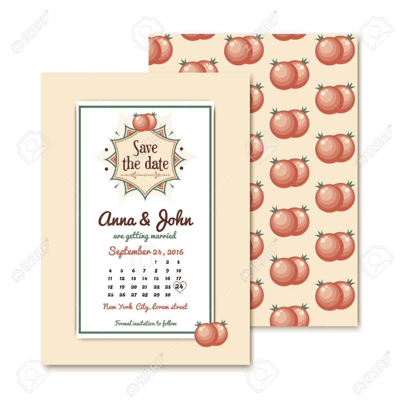 Vintage Wedding Invitation With Space For The Date Of The Wedding ...