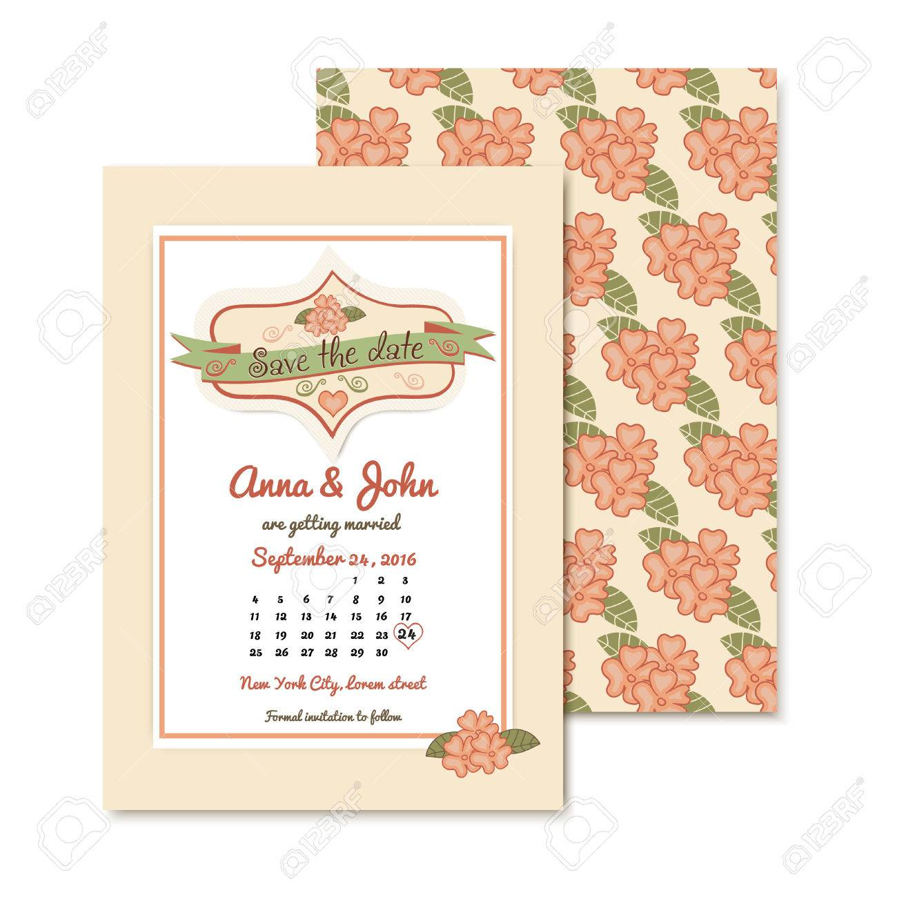 Vintage Hochzeit Einladung Vorlage Mit Blumenmuster Hochzeit Vektor